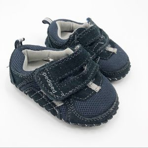 Pediped Blue leather sneakers shoes infants 4 4.5
